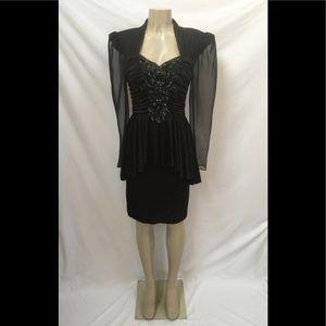 VTG ABBY KENT USA Size 6 Black Beaded/Sequin Dress